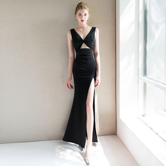 Stylowe / Modne Seksowne Czarne Sukienki Wieczorowe 2019 Syrena / Rozkloszowane V-Szyja Bez Rękawów Frezowanie Podział Przodu Długie Bez Pleców Sukienki Wizytowe