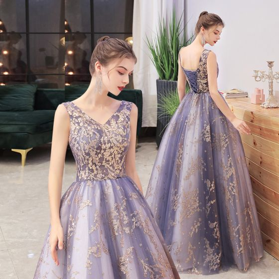 Romantic Ocean Blue Gold Dancing Prom Dresses 2021 A-Line / Princess V-Neck Sleeveless Glitter Appliques Floor-Length / Long Ruffle Backless Formal Dresses