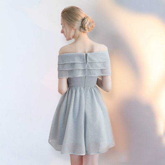 Chic / Beautiful Grey Graduation Dresses 2017 Summer Lace Backless Homecoming Cocktail Party Party Dresses