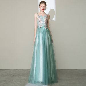 Charming Mint Green Prom Dresses 2020 A-Line / Princess Spaghetti Straps Pearl Rhinestone Lace Flower Sleeveless Backless Floor-Length / Long Formal Dresses