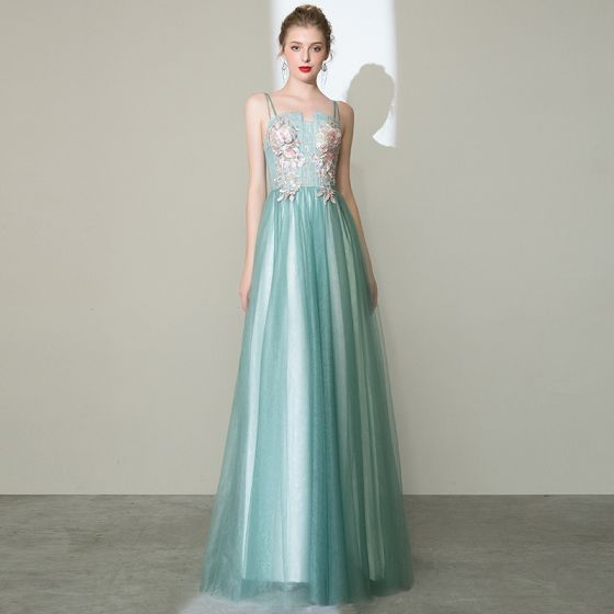 Charming Mint Green Prom Dresses 2020 A-Line / Princess Spaghetti Straps Pearl Rhinestone Lace Flower Sleeveless Backless Floor-Length / Long Formal Dresses