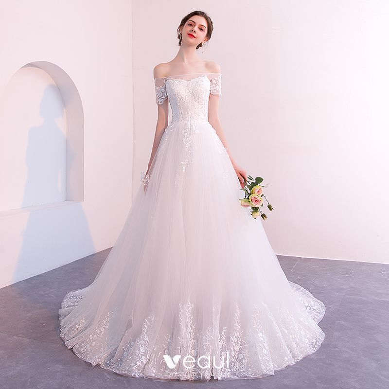 Affordable Ivory See-through Wedding Dresses 2019 A-Line / Princess Off-The-Shoulder Short Sleeve Backless Appliques Lace Court Train Ruffle