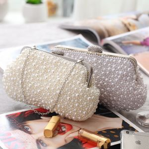 Chic / Beautiful Beading Pearl Metal Clutch Bags 2018