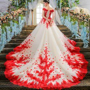 Schöne Weiß Brautkleider 2017 A Linie Spitze Applikationen Rückenfreies Perlenstickerei Hochzeit