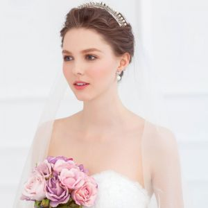 Flash Diamond Pearl Headdress Stereoscopic Small Crown Bridal Hair Accessories Wedding Accessories