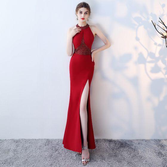 Modern / Fashion Burgundy Evening Dresses  2019 Trumpet / Mermaid Halter Sleeveless Beading Split Front Floor-Length / Long Backless Formal Dresses