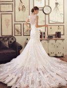 Meerjungfrau Applikation Handgemachte Blumen-spitze Champagner Brautkleider