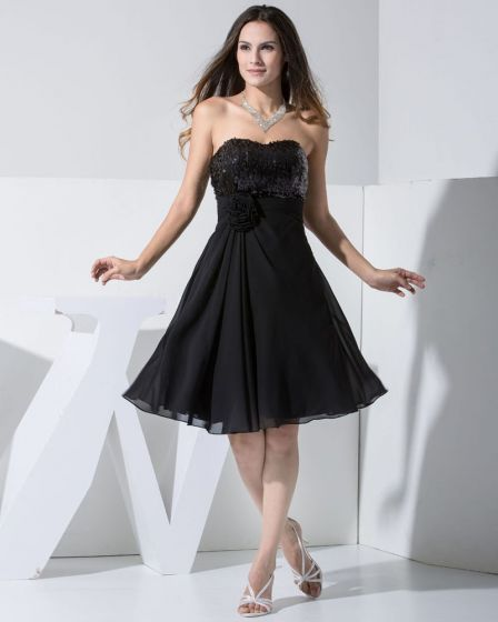 Chiffon Charmeuse Silk Lace Sweetheart Sleeveless Knee Length