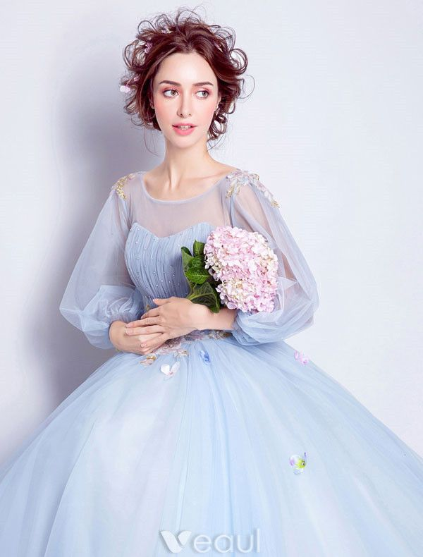 Flower Fairy Prom Dresses 2017 Scoop Neckline Applique Colorful Flowers Ruffle Sky Blue Tulle Occasion Dresses