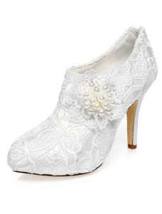 Luksus Brude Ankelstøvler 2016 Stiletter Høje Hæle Hvide Blonder Brudesko Med Perle