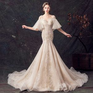 Elegant Champagne See-through Wedding Dresses 2019 Trumpet / Mermaid Square Neckline Bell sleeves Backless Appliques Lace Flower Pearl Sequins Beading Court Train Ruffle