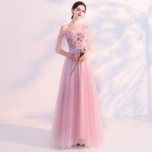 Sexy Blushing Pink Pierced Evening Dresses  2018 A-Line / Princess Spaghetti Straps Short Sleeve Appliques Lace Pearl Beading Floor-Length / Long Ruffle Backless Formal Dresses