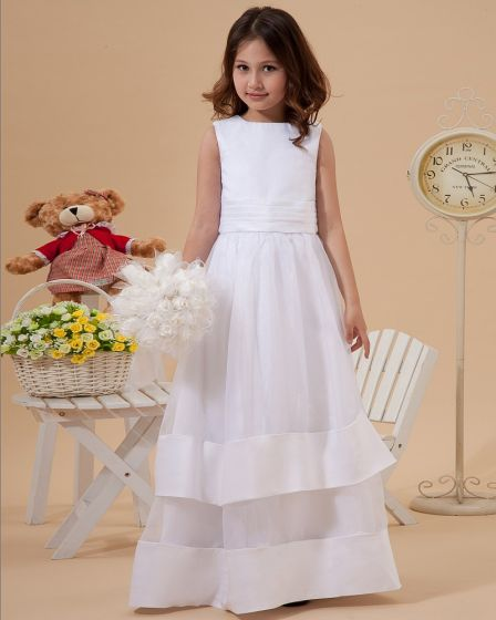 Cute A-Line Jewel Ankle-Length Organza Satin Flower Girl Dress