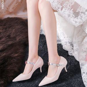 Moderne / Mode Rougissant Rose Chaussure De Mariée 2019 6 cm Fausse Fourrure Perlage Faux Diamant À Bout Pointu Talons Hauts Mariage Talons Aiguilles