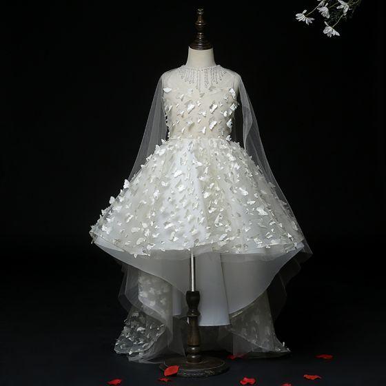 Wróżka Kwiatowa Białe Przezroczyste Sukienki Dla Dziewczynek 2020 Suknia Balowa Wycięciem Bez Rękawów Aplikacje Motyl Frezowanie Kutas Asymetryczny Trenem Watteau Wzburzyć