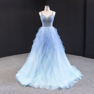 Fabulous Sky Blue Prom Dresses 2020 A-Line / Princess Spaghetti Straps Sleeveless Beading Sweep Train Ruffle Backless Formal Dresses