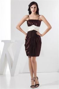 2015 Chic Cocktail Dress Empire Pleated Taffeta Straps Party Dress