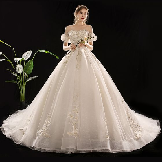 Chic / Beautiful Champagne Wedding Dresses 2019 A-Line / Princess Off-The-Shoulder Puffy Short Sleeve Backless Appliques Lace Sequins Beading Cathedral Train Ruffle