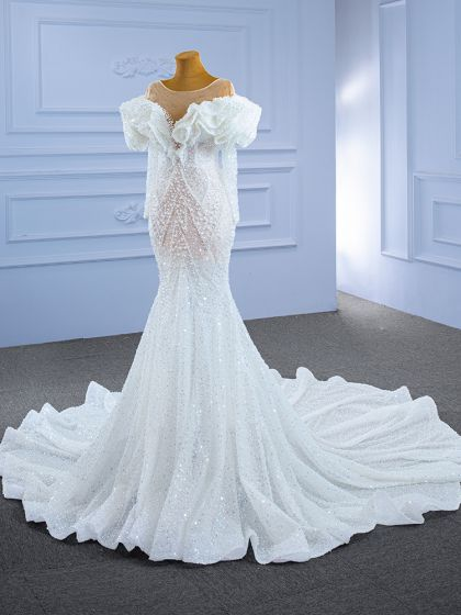 Luxury / Gorgeous Ivory Wedding Dresses 2021 Trumpet / Mermaid Beading Pearl Rhinestone Sequins Scoop Neck Long Sleeve Chapel Train Wedding