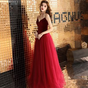Sexy Burgundy Prom Dresses 2019 A-Line / Princess Strapless Suede Sleeveless Backless Floor-Length / Long Formal Dresses
