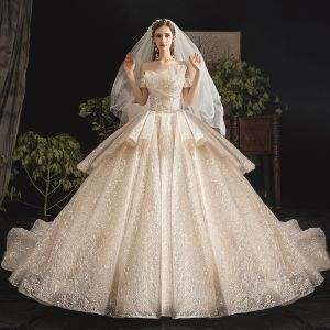 Bling Bling Champagne Wedding Dresses 2019 Ball Gown Off-The-Shoulder Short Sleeve Backless Glitter Sequins Tulle Cathedral Train Ruffle