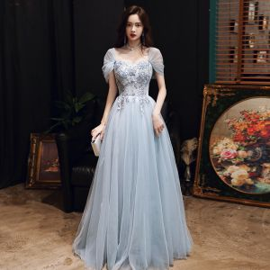 Chic / Beautiful Sky Blue Evening Dresses  2020 A-Line / Princess Off-The-Shoulder Short Sleeve Appliques Lace Beading Floor-Length / Long Ruffle Backless Formal Dresses
