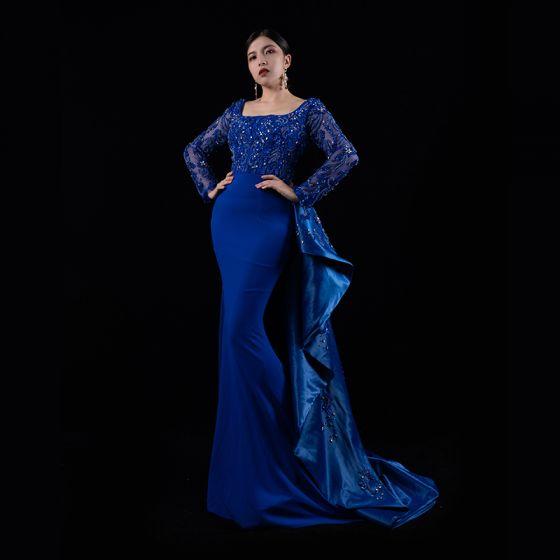Luxus / Herrlich Königliches Blau Satin Roter Teppich Abendkleider 2021 Meerjungfrau Eckiger Ausschnitt Lange Ärmel Handgefertigt Perlenstickerei Sweep / Pinsel Zug Festliche Kleider