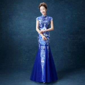 Chinese style Royal Blue Floor-Length / Long Evening Dresses  2018 Trumpet / Mermaid High Neck Charmeuse Evening Party Appliques Printing Formal Dresses