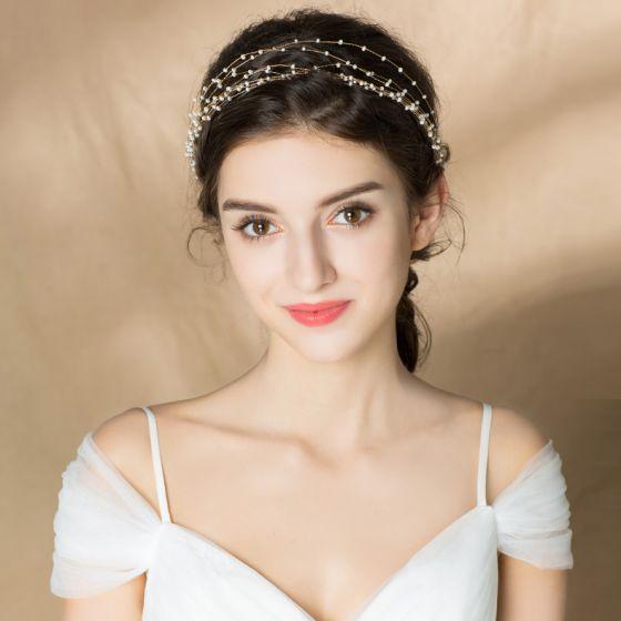 Elegante Goud Hoofdbanden Bruids Haaraccessoires 2020 Legering Lace-up Parel Haaraccessoires Huwelijk Accessoires