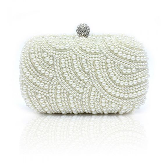 Luxury / Gorgeous White Clutch Bags Beading Pearl Rhinestone Handmade  Wedding Cocktail Party Evening Party Prom Accessories 2019