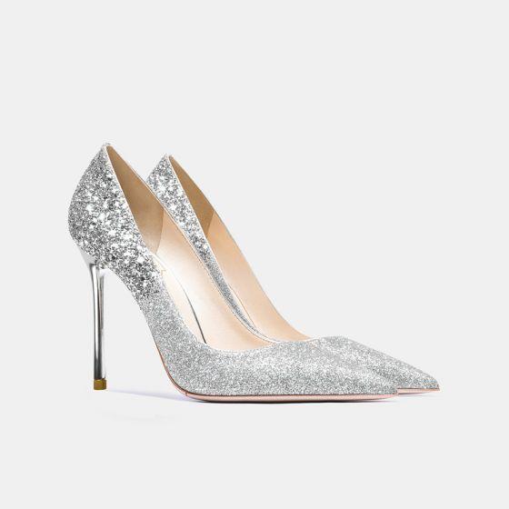 Scintillantes Argenté Chaussure De Mariée 2021 Cuir Paillettes 10 cm Talons Aiguilles À Bout Pointu Mariage Escarpins Talons Hauts