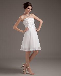 Applique Mousseline De Soie Sans Manches Cherie Mini Robes De Mariée Courte