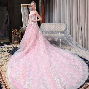 Hermoso Rosa Vestidos De Novia 2018 A-Line / Princess Con Encaje Apliques Rebordear Lentejuelas Sweetheart Sin Espalda Sin Mangas Cathedral Train Boda