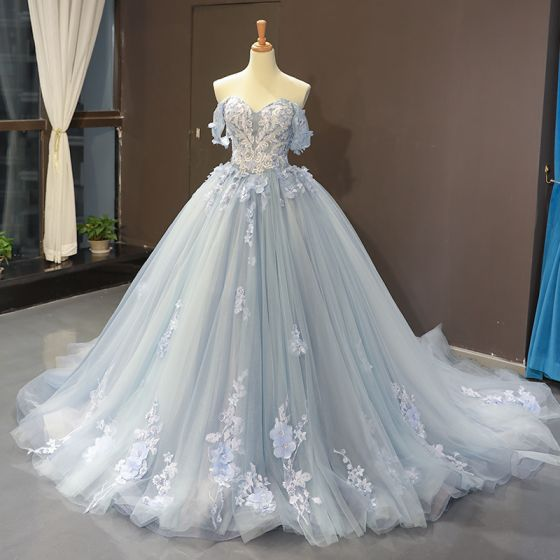 Flower Fairy Sky Blue Evening Dresses  2020 Ball Gown Off-The-Shoulder Short Sleeve Appliques Lace Flower Beading Chapel Train Ruffle Backless Formal Dresses