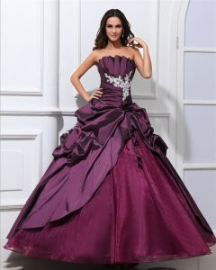 Ball Gown Taffeta Beaded Ruffle Applique Strapless Floor Length Quinceanera Prom Dresses