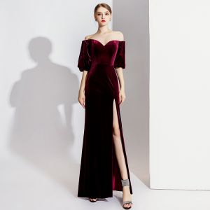 Elegant Burgundy Evening Dresses  2020 Trumpet / Mermaid Suede Off-The-Shoulder Short Sleeve Split Front Floor-Length / Long Formal Dresses