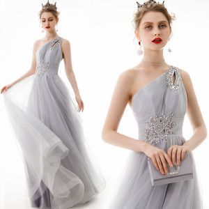 Chic / Beautiful Grey Evening Dresses  2020 A-Line / Princess One-Shoulder Beading Sequins Sleeveless Backless Floor-Length / Long Formal Dresses