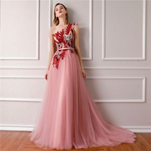 Elegant Candy Pink Evening Dresses  2019 A-Line / Princess One-Shoulder Sleeveless Sash Embroidered Court Train Ruffle Backless Formal Dresses