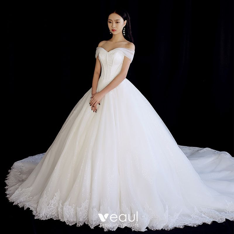 Chic / Beautiful Ivory Wedding Dresses 2018 Ball Gown Off