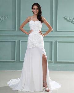 Strapless Sleeveless Zipper Beading Ruffle Floor Length Chiffon Woman Sheath Wedding Dress