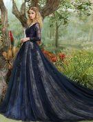Glamourösen Ballkleider 2017 V-ausschnitt-spitze Und Pailletten Dunkelblau Langes Kleid