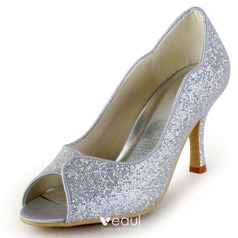 Maßgeschneiderte Hochwertige Glitter Hochzeitsschuhe Hochzeit Schuhe Hochzeitsschuhe Gold Silber Peep Optional