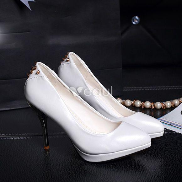 Fashion 4 Inch Stilettos Pumps White High Heels With Metal Rivet