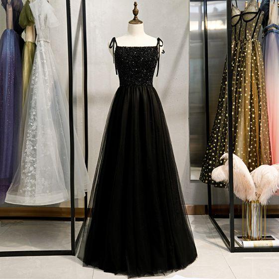 Charming Black Evening Dresses  2020 A-Line / Princess Spaghetti Straps Beading Crystal Sleeveless Backless Floor-Length / Long Formal Dresses