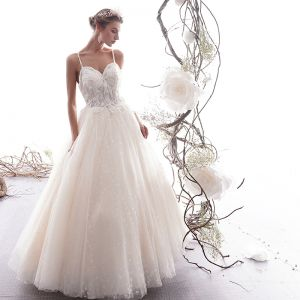 Elegant Champagne Wedding Dresses 2019 A-Line / Princess Spaghetti Straps Beading Pearl Lace Flower Sleeveless Backless Floor-Length / Long