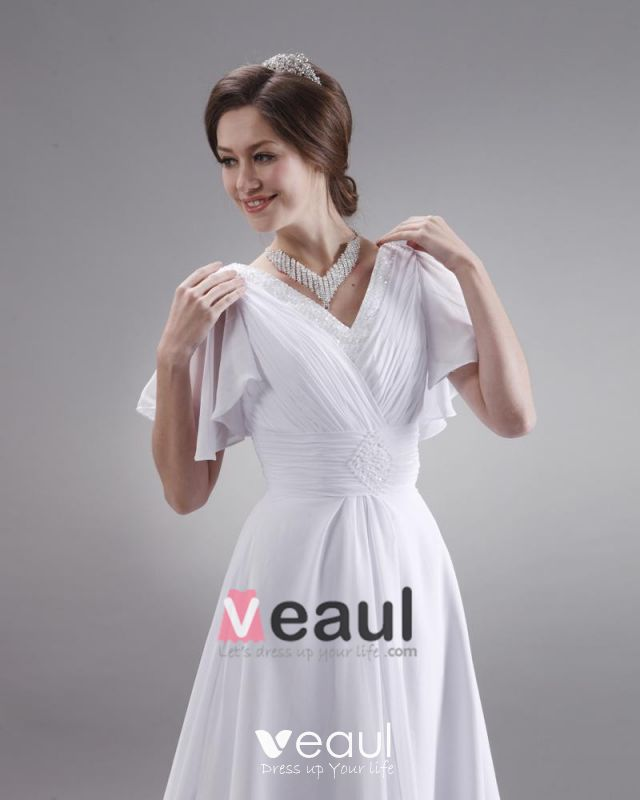 Ruffle V Neck Short Sleeve Court Plus Size Bridal Gown Wedding Dress