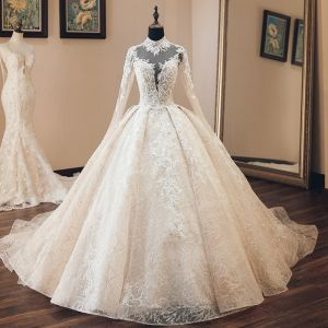 b2ce49bae83 Luxury   Gorgeous Vintage   Retro Champagne See-through Wedding Dresses  2019 Audrey Hepburn Style