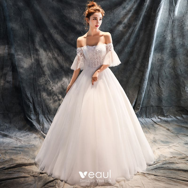 c9459671408 Chic   Beautiful Hall Wedding Dresses 2017 White Ball Gown Floor-Length    Long Off-The-Shoulder 1 2 Sleeves Backless Sequins Rhinestone Lace Appliques