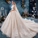 Chic / Beautiful Champagne Wedding Dresses 2019 A-Line / Princess Off-The-Shoulder Short Sleeve Backless Appliques Lace Flower Beading Pearl Cathedral Train Ruffle