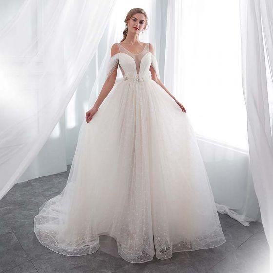 moda marfil transparentes vestidos de novia 2018 a-line / princess u